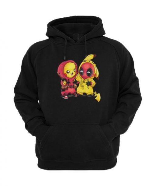 Baby Pikachu Pokemon and Deadpool Hoodie