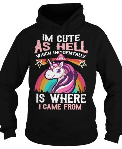 I'm cute as hell which incidentally is where I came from Unicorn Hoodie