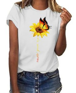 Never Give Up Sunflower Butterfly T-Shirt